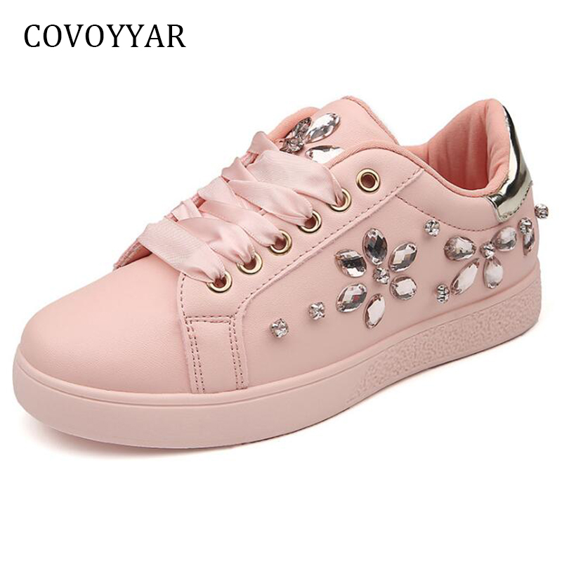 COVOYYAR 2019 Rhinestone Flowers Women Sneakers Comfort Lace Up Casual Shoes Spring Autumn Flat White Shoes Trainers WSN608