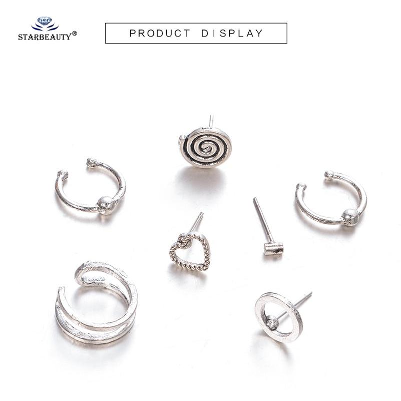Starbeauty 7pcs Lot Bohemian Round Heart Ear Fake Piercing Helix