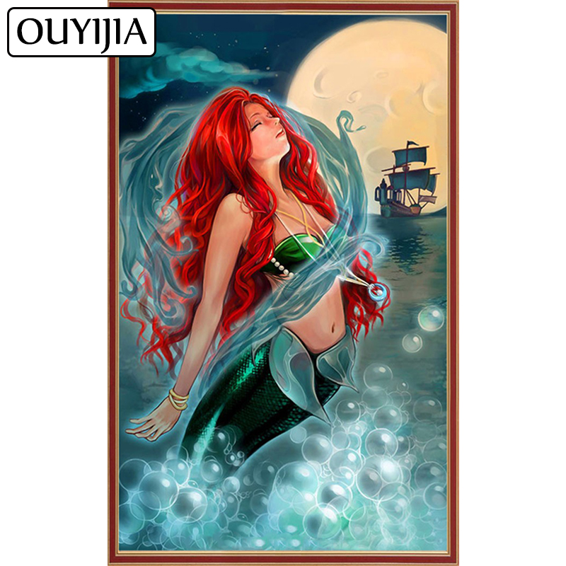 Detail Feedback Questions about OUYIJIA Mermaid 5D DIY Diamond Painting  Rhinestone Cross Stitch Embroidery Diamond Mosaic Home Decoration Beauty  Fish Siren ... c52ad7ad2240