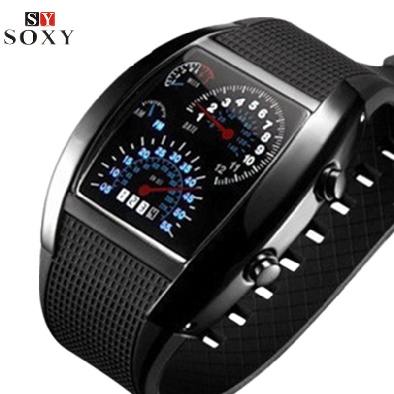 Fashion Men's Watch Unique LED Digital Watch Men Watch Electronic Sport Watches Rubber Band Clock Montre Homme Erkek Kol Saati