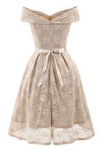 Vintage Elegant White Floral Lace Women Midi Dress Evening Party Robe Ladies Dresses A Line Bow Dress Vestido De Festa