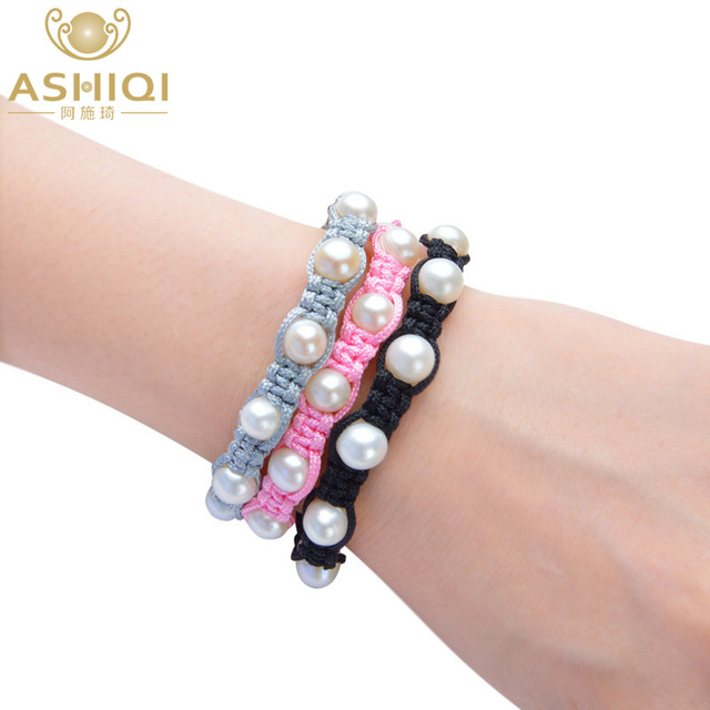 c246a3c2232eb US $4.91 55% OFF|ASHIQI Natural Genuine Freshwater Pearl Lucky Charm  Tibetan Bracelets For Women Handmade Knots colour Black Rope Christmas  Gift-in ...