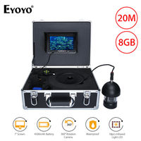 EYOYO 7inch 360degree 8GB DVR HD 1000TVL With 20M Cable Underwater Fishing Camera 18PCS Infrared Light