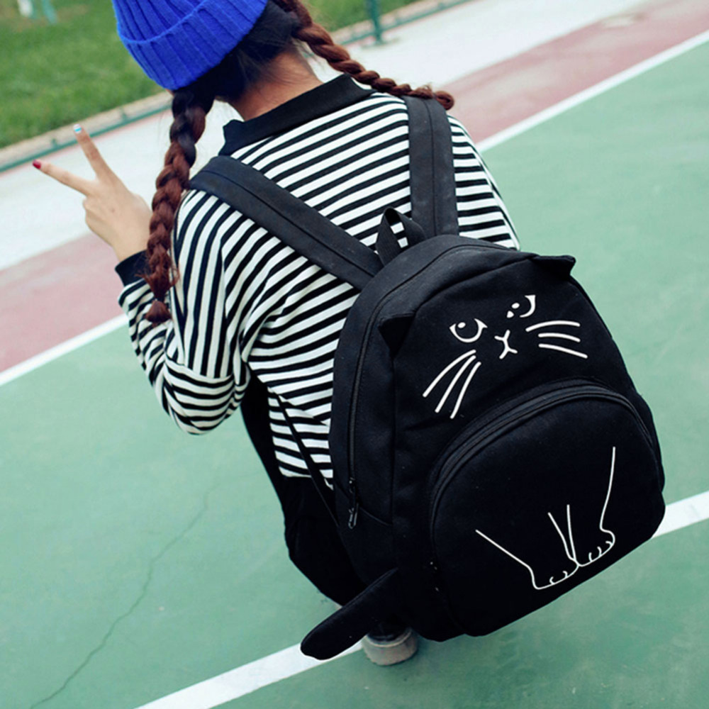 Lovely Cat Printing Backpack Women Canvas School Backpack For Teenagers Ladies Casual Cute Rucksack Bookbags Mochila Feminina #3