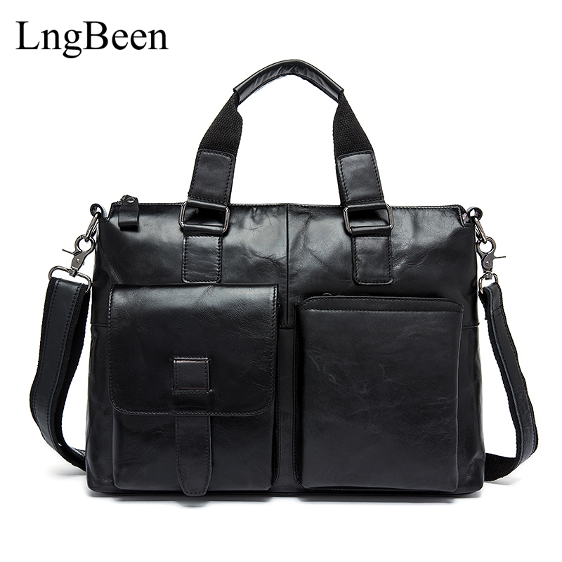NEW Genuine Leather Coffee Men Briefcase 14 inch Laptop Business Bag Cowhide Men's Messenger Bags Luxury Lawyer Handbags LB8260 цена и фото