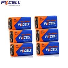 6 шт. PKCELL 9V 6LR61 щелочной Батарея 1604A 6AM6 MN1604 522 супер сухие батареи для индикатор дыма газовые плиты нагревателя воды