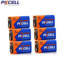 6Pcs PKCELL 9V 6LR61 Alkaline Battery 1604A 6AM6 MN1604 522 Super Dry Batteries For Smoke Detector Gas Stoves Water Heater