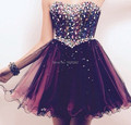 Fashionable Crystals Hot Sale Grape Short Homecoming Dress Special Occasion Girls Prom Party Gown