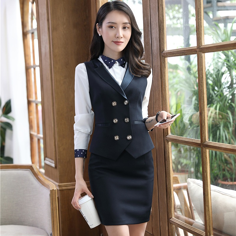 Plus Size Formal Uniform Styles Blazer Suits With Vest and