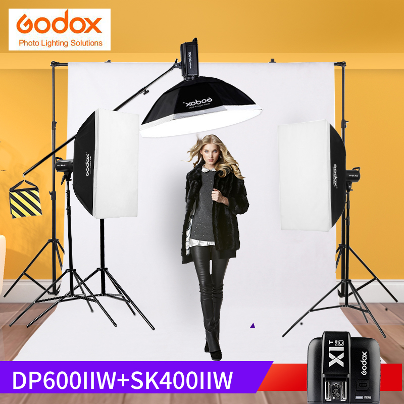 Godox DP600II+Sk400ii Light Stand kit shooting table Photo Studio Flash Strobe Light 110v/220v with 50W Modeling Lamp Softbox godox gs300 50w xenon photo studio stage flash lamp strobe light black ac 200 240v