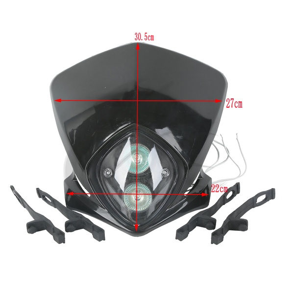 Black Headlight Universal Motocycle for Custom Scooters StreetFighters Halogen Bulbs ...