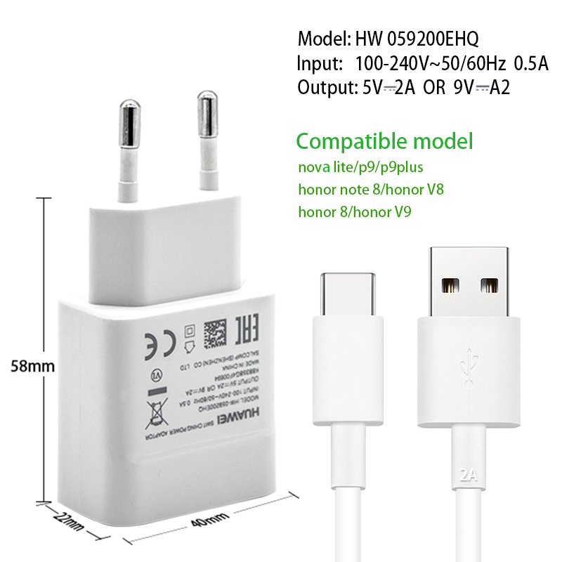 fantastic savings cute on sale US $9.84 15% OFF|Original Huawei Fast Quick Charger Adapter 9V2A Honor note  8 9 V8 V9 P9 Plus Nova 2 2s 3e Travel Charge Type C USB Type C Cable-in ...