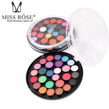 12PCS/set Display box Miss Rose Makeup 27 Full Color Eyeshadow Palette Matte Shimmer Eye Shadow Cake Make Up Kit free shipping miss rose hexagon hand make up case makeup set of matte shimmer eye shadow blush powder eyebrow concealer lipgloss