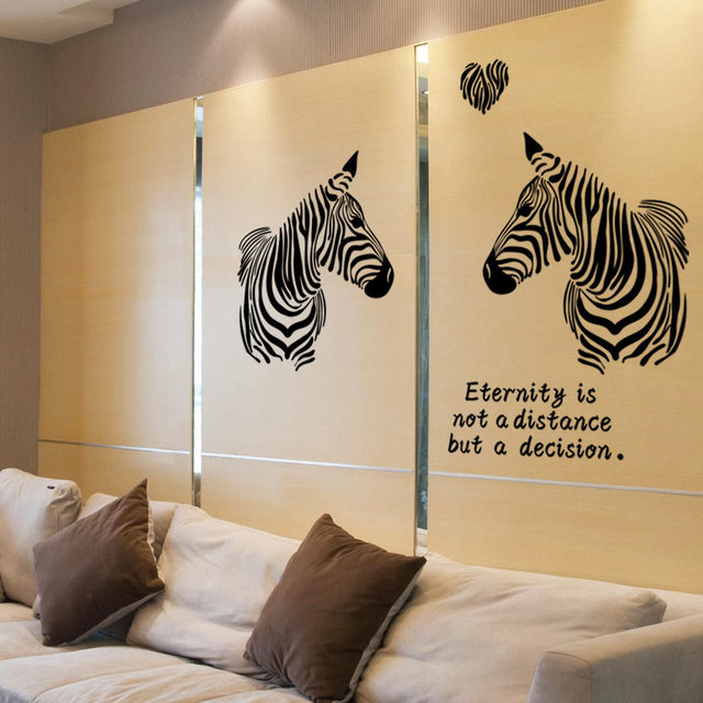 Zebra wall stickers stylish zebra love story home wall decor vinyl removable art murals modern house interior decoration