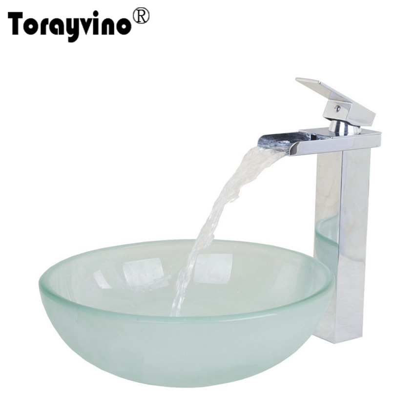 Torayvino Waterfall Bathroom Faucet And Frosted Tempered Glass Vessel Sink And Pop Up Drain Round Bathroom Sink Set DD45038259GG new vintage style antique brass bathroom vessel sink drain basin push down pop up drain with overflow solid brass 4310