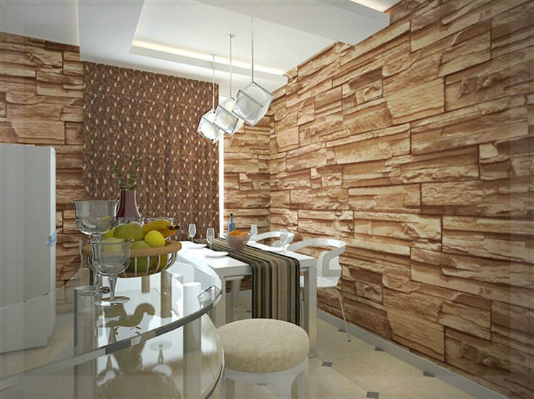 Chinese Style Dining Room 3D Wallpaper Stone Brick Design Background Wall Vinyl Modern For Living Wallcovering Mu In Wallpapers From Home