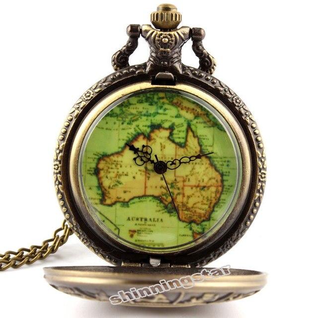 antique bronze australia map constellation pocket watch necklace chain pendant quartz watch mens gifts