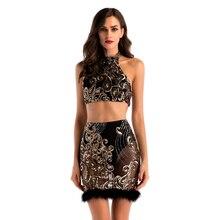 Sheath Two Piece Black Sexy Nightclub Dress Mini Halter Backless Sequine Bodycon Appliques Sleeveless Dresses Fashion Nova Woman