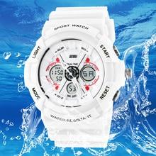 Choque Día analógico digital relojes hombres mujeres LED electrónico 50 m G tipo del ejército de buceo reloj deportivo relogio masculino feminino señora blanco