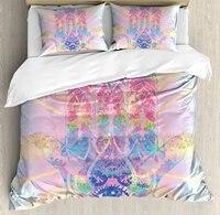 Hamsa Duvet Cover Set, Spiritual Energy Flow Aura Inspired Design Harmony Yoga Meditation Theme 4 Piece Bedding Set
