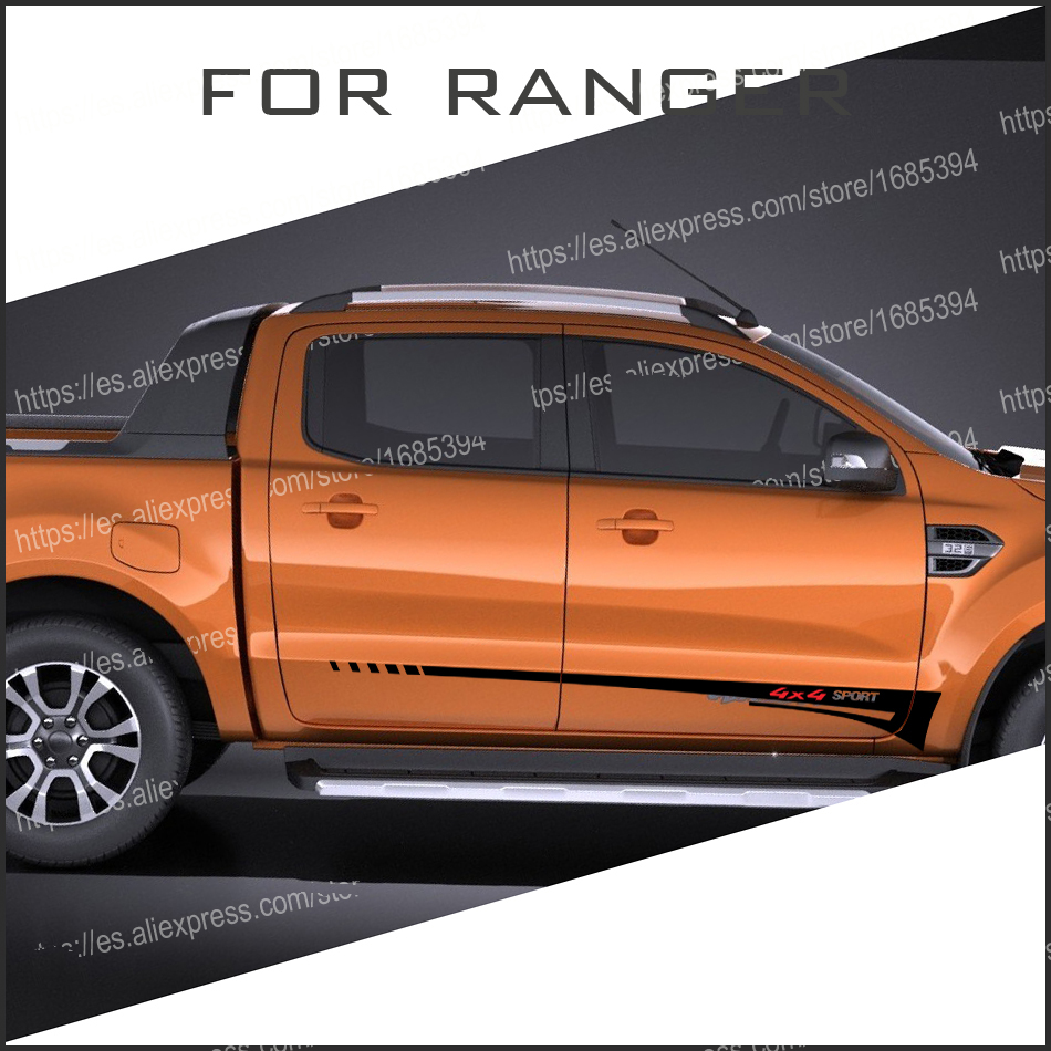 free shipping 2 PC 4X4 sport side stripe graphic Vinyl sticker for Ford ranger 2012 2013 2014 2015 2016 2017sticker 2 pc hilux hilux chequered racing side stripe graphic vinyl sticker for toyota hilux decals