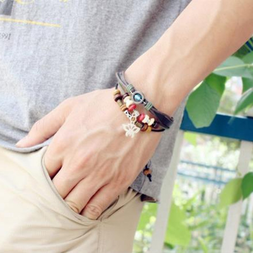 Fashion Punk Style Infinite Adjustable Bracelet Butterfly Bracelets PU Leather Braided Hand Men/Women Jewelry Bangle