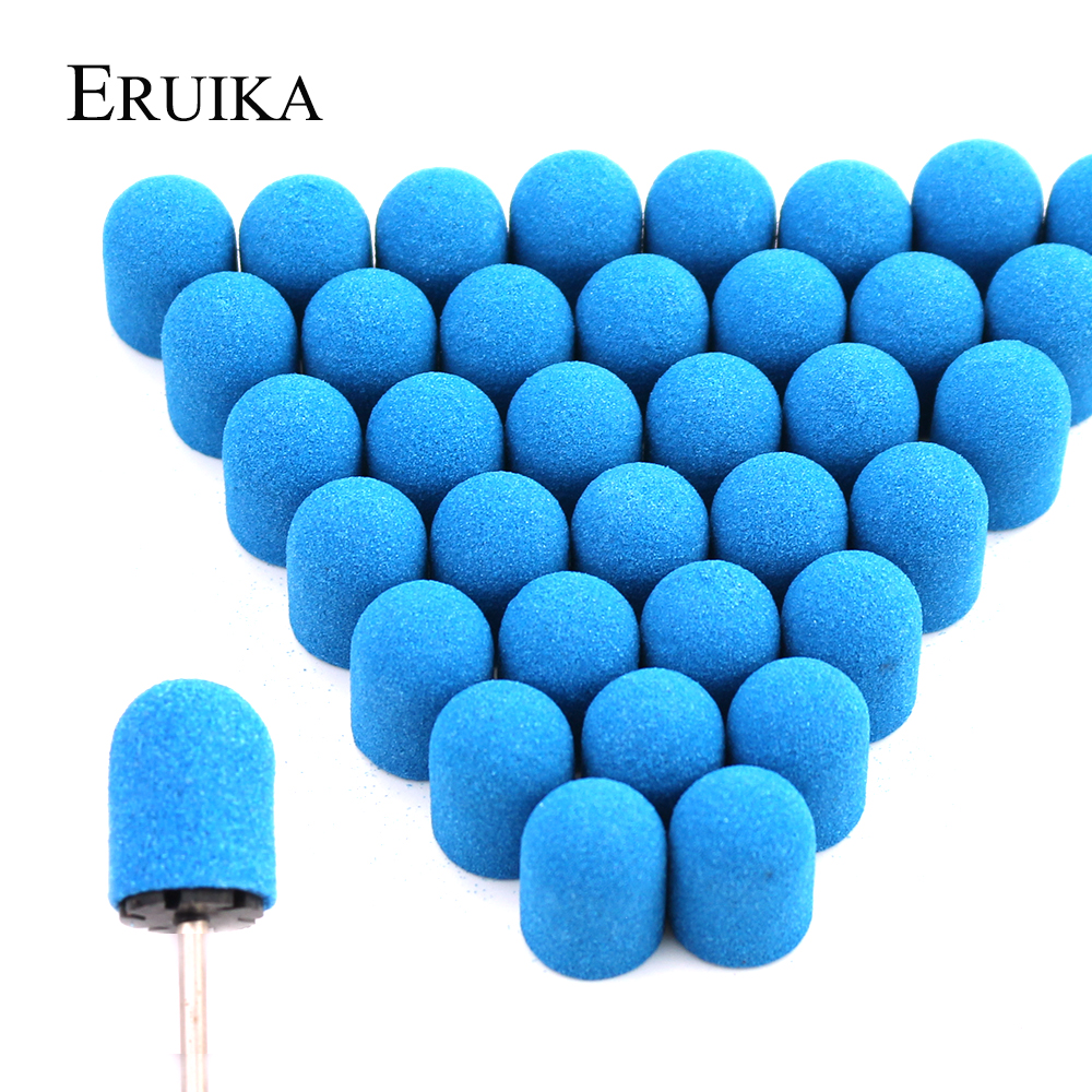 20pcs 13*19mm Blue Plastic Sanding Caps Pedicure Care Milling Cutter Polishing Sand Block Foot Cuticle Tool Drill Accessories