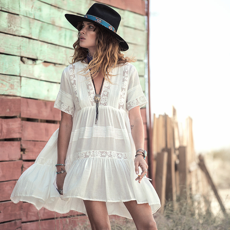 Embroidery Bohemian Dress Loose Fit Women White Cotton Mini Dresses Deep Vneck Embroidery Lace Bohemian Style Hippy Gypsy Girl