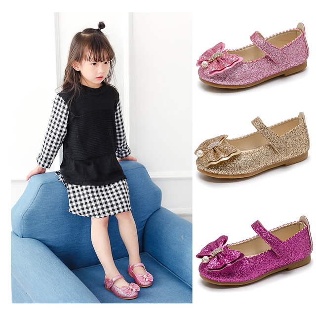 Flor niños niñas Gold Sequins Glitter Zapatos de vestir de cuero para niñas  danza de la ae19a379f5e5