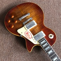 Hot Selling Musical Instruments OEM 1959 R9 Tiger Flame Electric Guitar Luxury Finished Way With Chrome