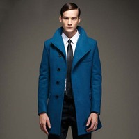 Fashion Mens Pea Coat Jacket Wool Blends 2017 New Long Wool Coat Men Winter Men Overcoat