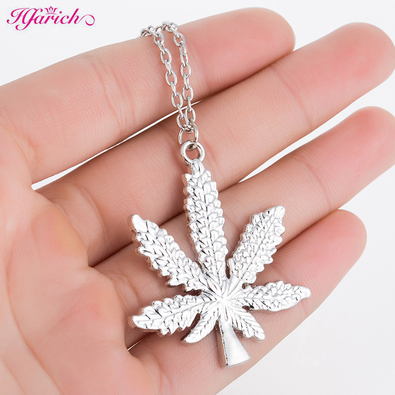 Hfarich Maple Leaf <font><b>necklaces</b></font> & pendants Gold Color boho <font><b>Cannabiss</b></font> Weed Herb Charm <font><b>Necklace</b></font> Hip Hop Tropical Leaf Jewelry image