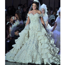 Luxurious font b Wedding b font font b Dress b font With Full Lace Ruffles Tailing