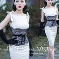 le palais vintage women white black lace straped wiggle pencil dress elegant Audrey Hepburn plus size vestidos jurken robe