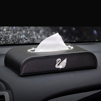 Swan Car Tissue Box Leather With Crystal Rhinestone Paper Tower Storage Boxes Diamond Block Type Auto