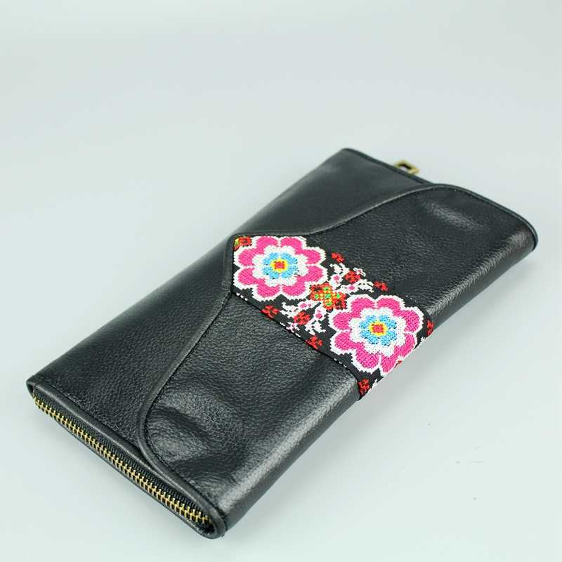 a406ef0cd1d22 ... Handmade Genuine Leather Wallet Ethnic Embroidery Cowhide Handbag Women  National Bohemian Purse Lady Gift Coin Card ...