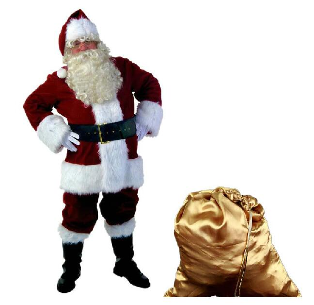 A Full Set Of Christmas Costumes Santa Claus For Adults Red Christmas Clothes Santa Claus Costume Luxury Suit N1471