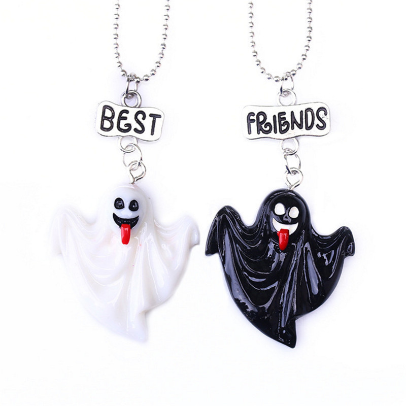 1Pair Fashion Necklace For Women Girls Kids Enamel Cartoon House Bat Ghost Jewelry Couple Necklace Pendant Birthday Party Gift
