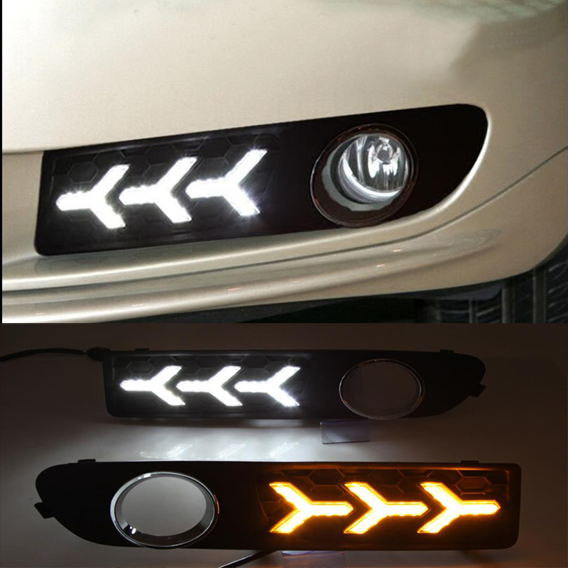 Turn Yellow Signal Relay Waterproof Car LED DRL 12V LED Daytime Running Light Daylight For 2009 2010 2011 2012 2013 Volvo S80 9 led car styling drl for chevrolet cruze 2009 2010 2011 2012 2013 daytime running lights with turning signal free shipping