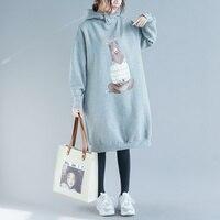 Plus Size 2018 Fall Winter Women Fashion Cartoon Bear Print Tops Ladies Female Vintage Warm Thick Fleece Long Sweatshirt Dress