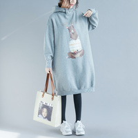 Plus Size 2018 Fall Winter Women Fashion Cartoon Bear Print Tops Ladies Female Vintage Warm Thick Fleece Long Sweatshirt Dress