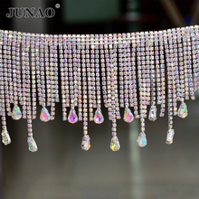 JUNAO 45cm/lot Crystal AB Glass Rhinestone Chain Fringe Tassels Sewing Metal Trim Applique Strass Banding Clothes Crafts