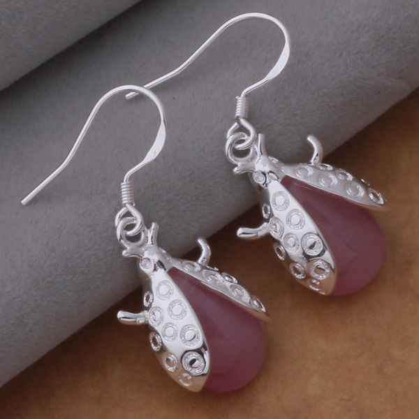 AE604 925 sterling silver earrings , 925 silver fashion jewelry , beetle set with red stone /cnyalffa bhgajyna