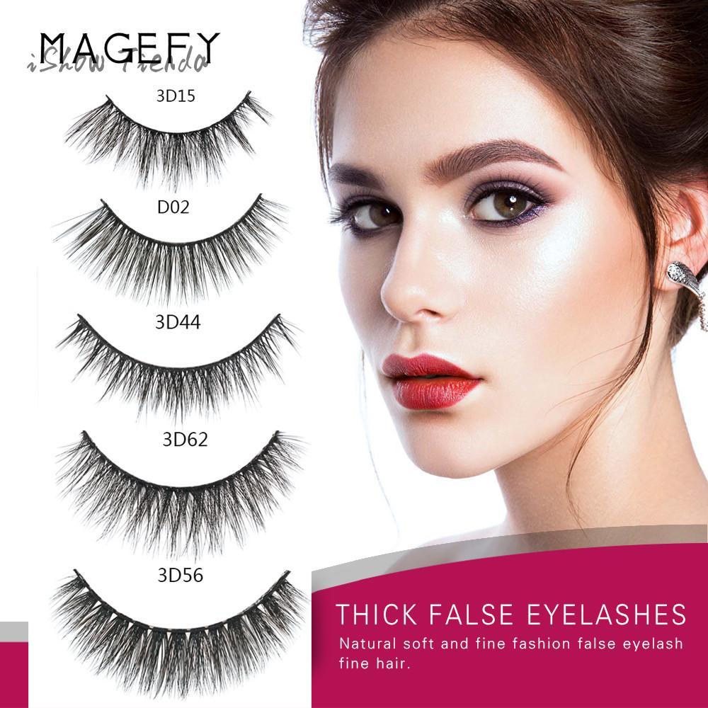 ISHOWTIENDA 5pairs natural false eyelashes fake long makeup 3d lashes for professionals soft mink eyelash extension MAKE UP TOOL