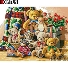 """HOMFUN полная квадратная/круглая дрель 5D DIY Алмазная картина """"Цветочный медведь"""" вышивка крестиком 5D домашний Декор подарок A14145"""