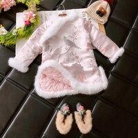 New 2018 Spring Chinese Cheongsam Dress Winter Dress New Baby Cotton Thickened Floral Bird Dress Kids