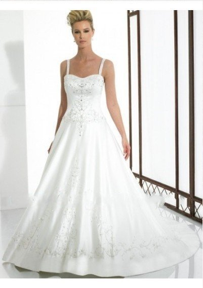 Free Shipping-satin soft neckline with shoulder straps and a line skirt with luxurious embroidery designs wedding dress