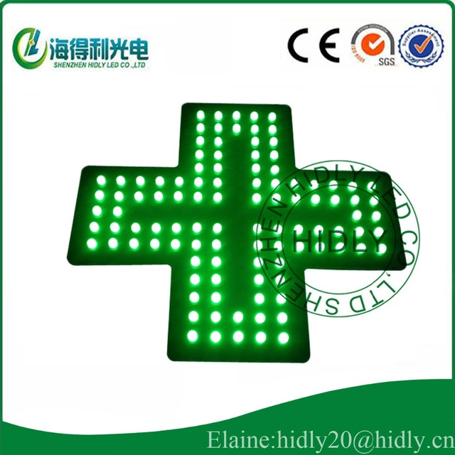 Led Pharmacy Cross Sign Board For 12 12inch Pure Green Color Open