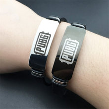 Game PUBG Cosplay Stainless Steel Bracelets Adjustable Silicone ID Bracelets of Man Boy Jewelry(China)