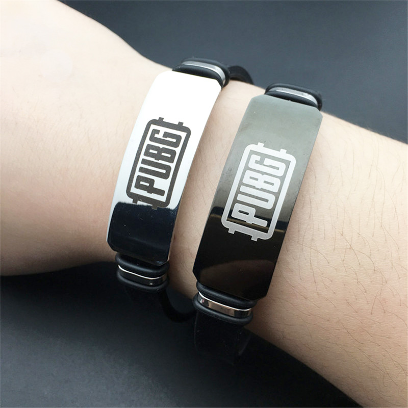 Game PUBG Cosplay Stainless Steel <font><b>Bracelets</b></font> <font><b>Adjustable</b></font> Silicone ID <font><b>Bracelets</b></font> of Man Boy Jewelry image